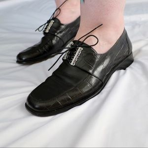 "Brighton ""Jenn"" Black Leather Oxfords"